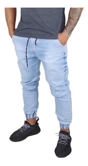 Calça Jeans Camuflada Masculina Jogger Com Punho Elastico