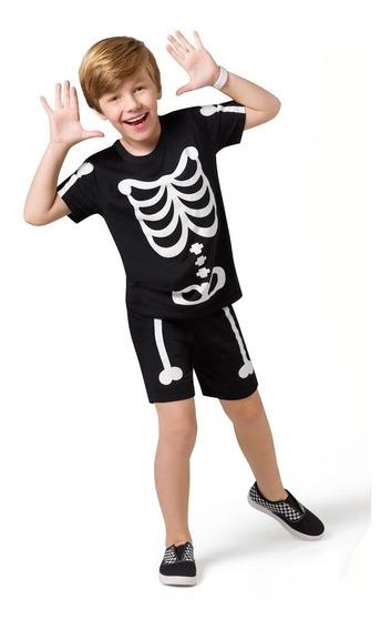 Pijama Curto Kids - Esqueleto - Veggioficial