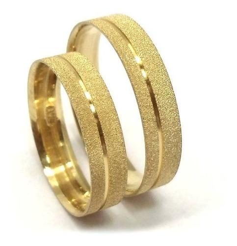 Imagem 1 de 5 de Par De Alianças Ouro 18k 750 4,5mm Diamantada 5gr Casamento