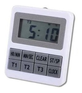 Triple Timer Digital Con Reloj Con Alarma. Luft Ti247
