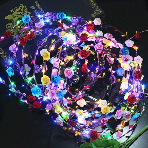 10 Coronas De Flores Luces Led Cotillón