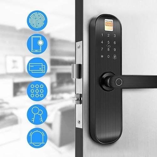 Imagen 1 de 7 de Cerradura Inteligente  Puerta Digital Tuya App Huella Madera