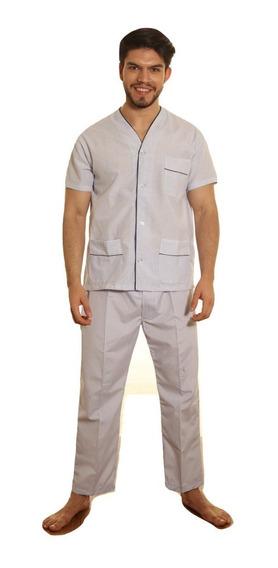 Pijama Hombre Camisero Manga Corta Pantalon Largo
