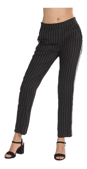 Pantalones Dama Casuales Rayado Cinta Moda Negro W83111