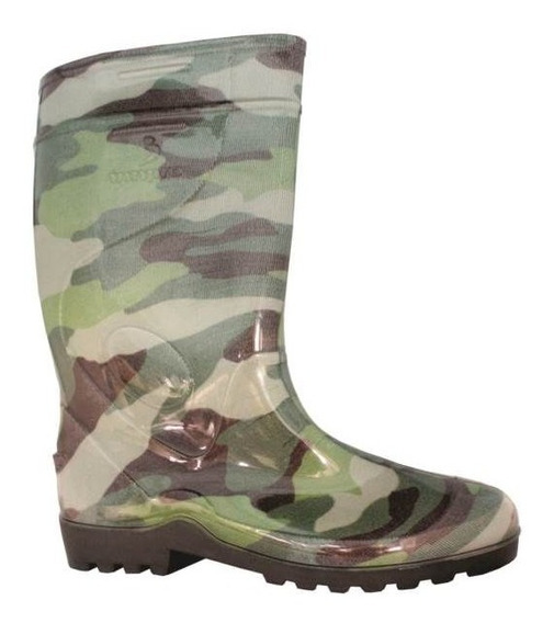 Galocha Bota Militar Camuflada Verde Borracha Pvc
