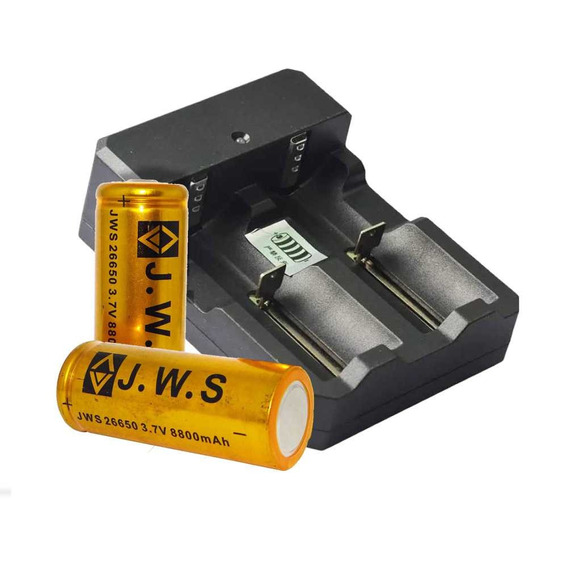 Carregador Duplo P/ Bateria + 1 Bateria 26650 3.7v 8800mah