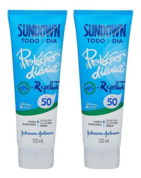 Kit Com 2 Protetor Solar Sundown Todo Dia Com Repelente Fps 50 120ml