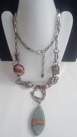 Collar+pulsera+aretes -piedra Gris Rosa Metalico-