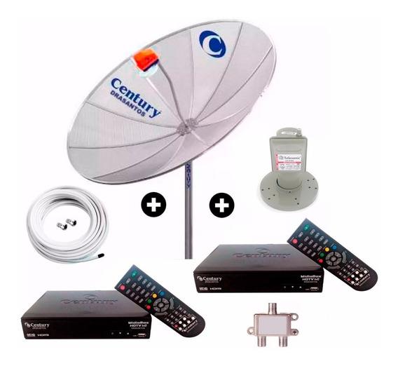 Antena Parabolica 190 Digital Hd Multiponto 2 Mídiabox