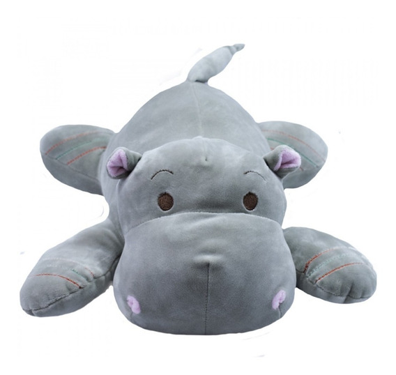 Hipopótamo Cinza Deitado 36cm - Pelúcia