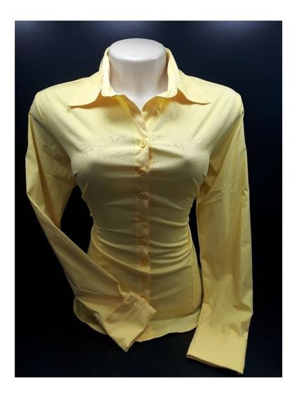 Camisa Social Feminina Evangelica Slim Lisa 3peças Lindas