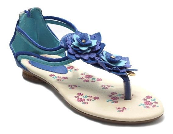 Sandália Menina Dali Flores Azul Klin