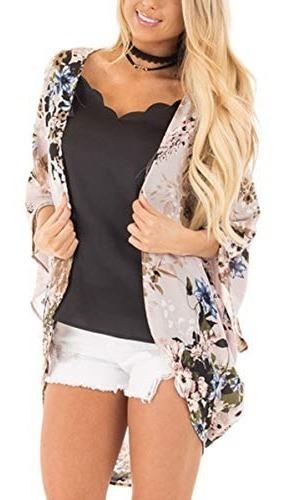 Hibluco Kimono Con Estampas Florales A La Moda, Tipo Chal, D