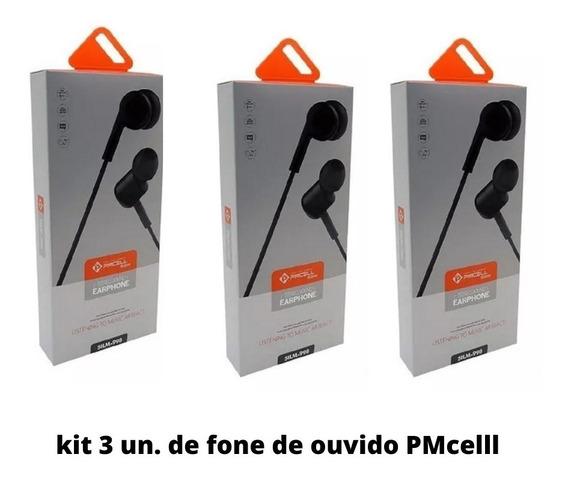 Kit 3 Fone De Ouvido Som Alto Pmcell Fo13 Original Promoção