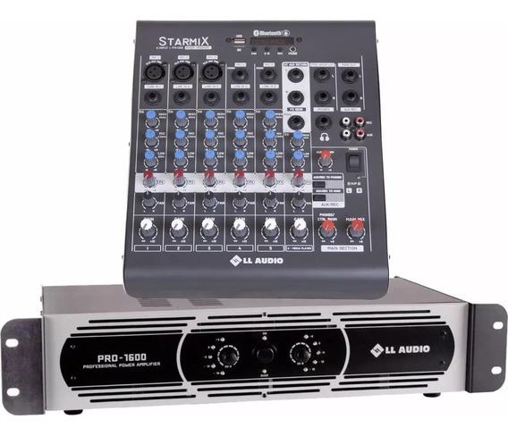 Kit Mesa Som 6 Canais Ll Xms602r + Potencia Pro 1600 400w