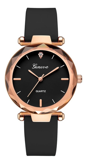 Relógio Feminino Rosé Silicone Quartz Geneva Promoção Barato