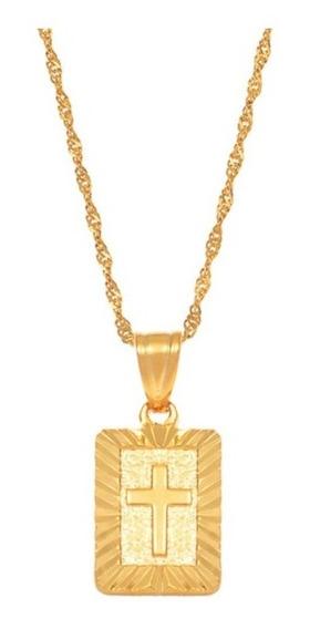 Colar Banhado Pingente Cruz Jesus Promoção Ouro Corrente