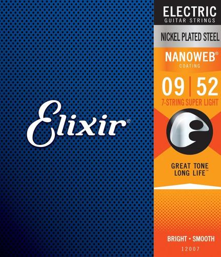 Imagem 1 de 7 de Encordoamento Guitarra 7 Cordas Elixir 12007 Nanoweb 09-52