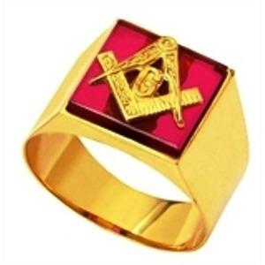 Anel Ouro 18k Mestre Triangulo G Rubi Maçonaria Maçon Mestre