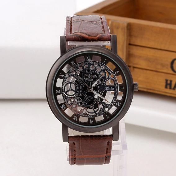 Relógio Luxo Masculino Pulso Quartzo Social Pulseira Couro