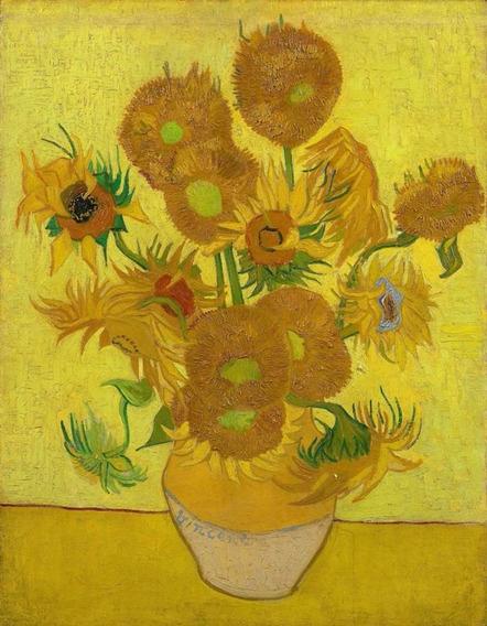 Poster Foto 65x85cm Gravura Obra Sunflowers Vincent Van Gogh
