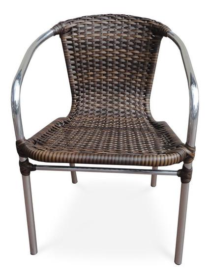 Poltrona Cadeira De Alumínio Vime Fibra De Junco Sintético