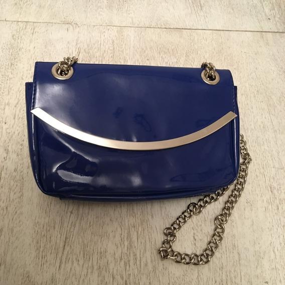 Cartera De Vinilo Azul Y Metal Con Cadena Larga Zara Sin Uso