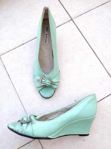 Zapatos Mujer Vintage Cuero Verdes 38 Agua Y Plateado