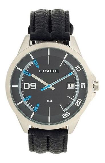 Relógio Lince Aço Prata Visor Preto Couro Mrc4361s P2px