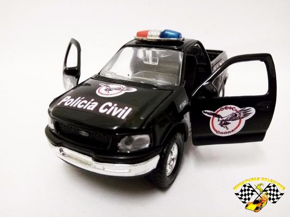 Miniatura Ford F-150 Welly Policia Civil São Paulo 1:38