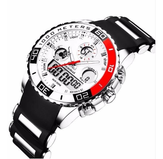 Relógio Masculino Digital Analógio De Pulso Borracha Branco