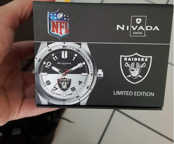 Reloj Nivada Np17387raiders Edición Especial Nfl Cómo Nuevo
