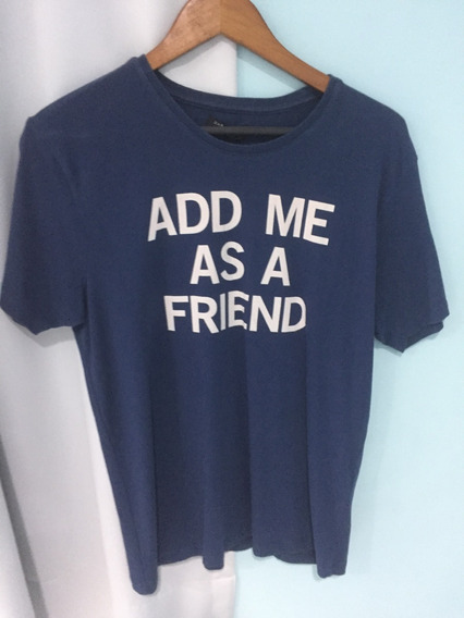 Zara Man Basic Camiseta Add Me As A Friend Tam. M Masculina