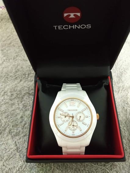 Relógio Technos Ceramic Branco E Rose
