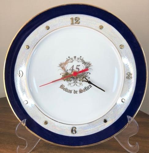 Imagem 1 de 5 de Relógio Bodas De Safira 45 Anos De Casamento 28cm