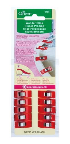 Clips Prodigiosos Estándar Rojo 10 Pzas Clover 3155