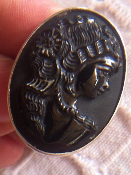 Camafeu Antigo Anel Ônix E Prata 950 Aro22 3x2,2cm