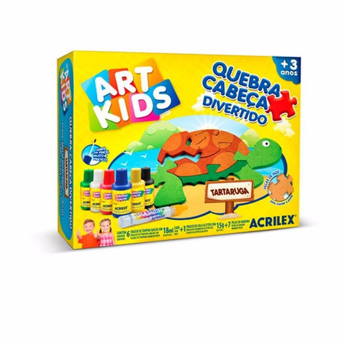 Art Kids Quebra Cabeça Divertido Tartaruga Acrilex