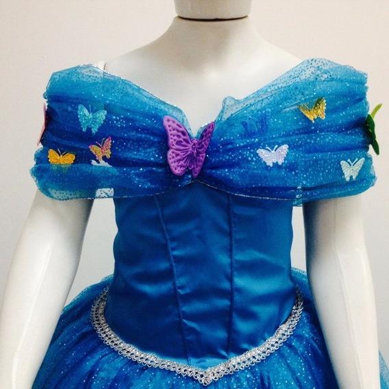 Fantasia Vestido Princesa Cinderela Disney Super Luxo