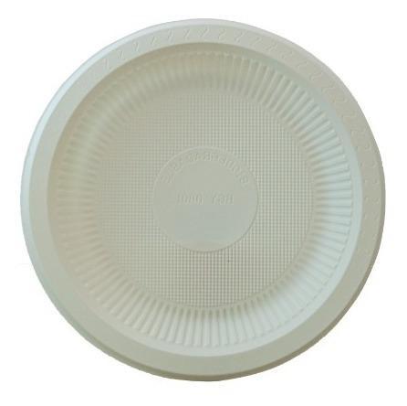 Plato Liso 23cm Biodegradable Fecula De Maiz, 50pzs, Molah!