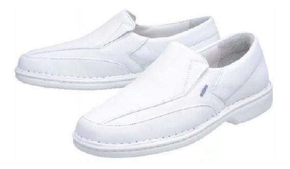 Sapato Branco Medico Enfermagem Dentista Couro Antestress Pr