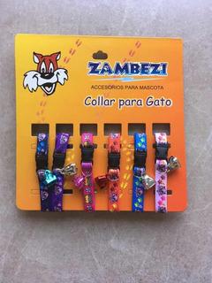 Pqte De 6 Collares Elásticos P/gato C/campana Surtidos