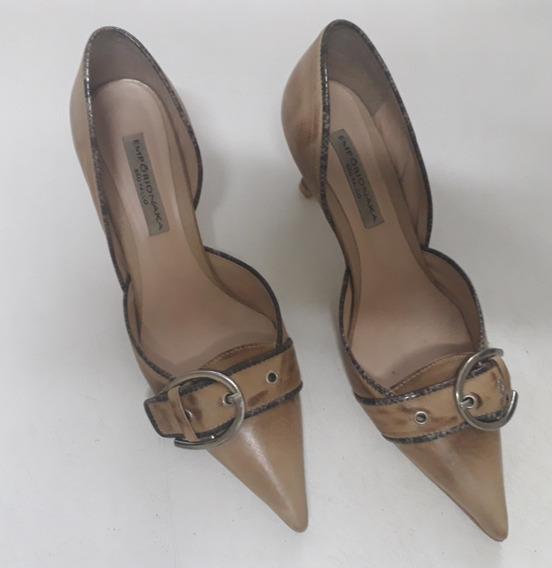 Sapato Salto Alto Couro Scarpin Bege Emporio Naka