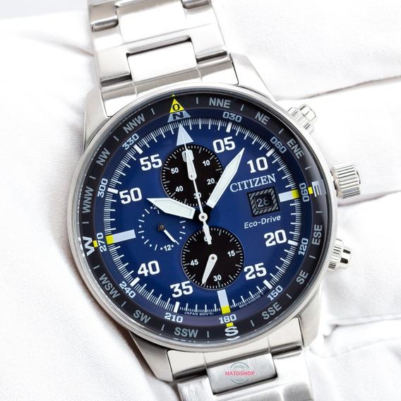 Relógio Citizen Eco-drive Cronógrafo Aviador Azul