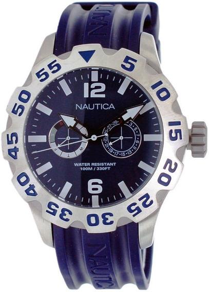 Relógio Nautica Só A Pulseira Azul Big Catraca 2,4 Cm Nova