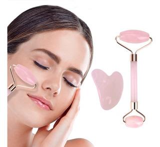 Massageador Facial Pedra Quartzo Rosa + Gua Sha Coração