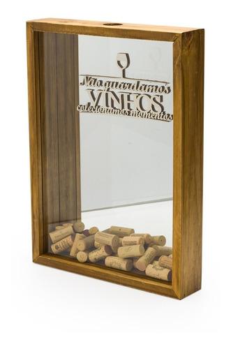 Caixa Porta Rolhas C/ Vidro E Espelho Gg Pinus Luxo
