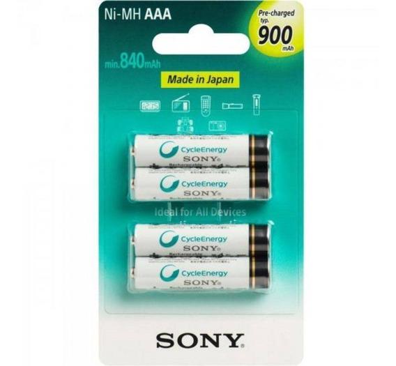 4 Pilhas Recarregável Sony Aaa (palito) 900mah Lacrada