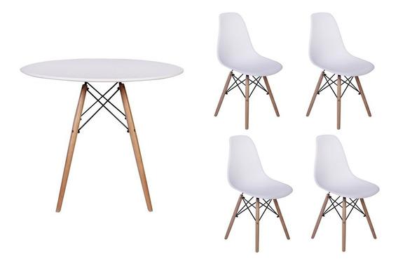 Kit Mesa Jantar Eiffel 100cm Branca + 04 Cadeiras Eiffel