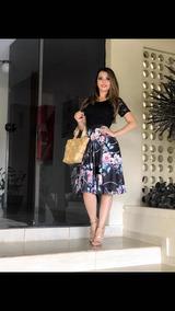 Vestido Evangélico Midi Feminino Estampado Com Renda